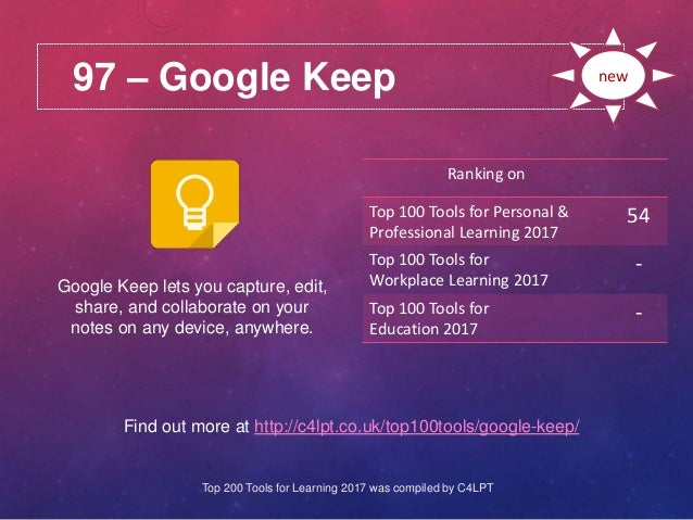 97 – Google Keep Find out more at http://c4lpt.co.uk/top100tools/google-keep/ Ranking on Top 100 Tools for Personal & Prof...