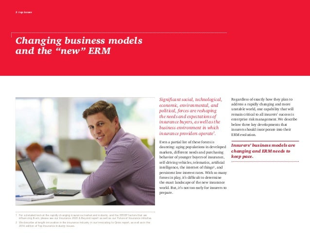 """2 top issues Changing business models and the """"new"""" ERM Significant social, technological, economic, environmental, and po..."""