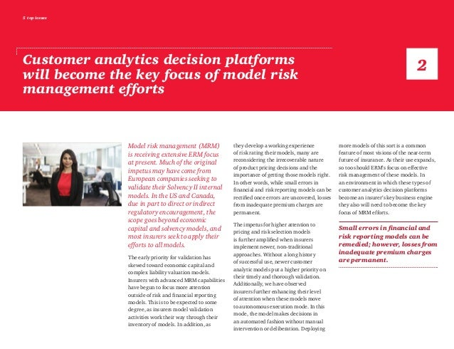 5 top issues Customer analytics decision platforms will become the key focus of model risk management efforts Model risk m...