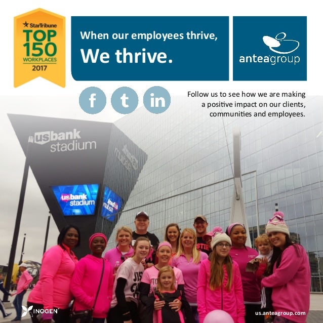 When our employees thrive, We thrive. us.anteagroup.com Follow us to see how we are making a positive impact on our client...