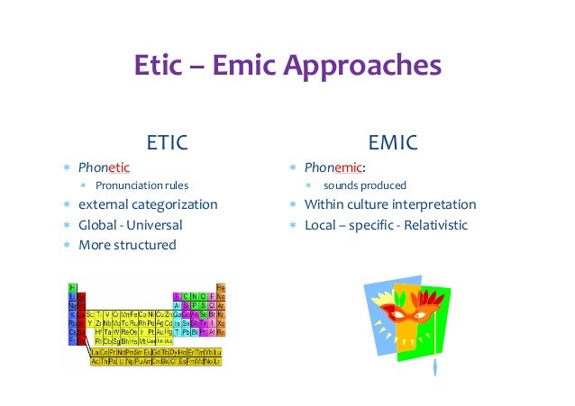 emic vs etic - emic research studies one culture alone to understand culture-specific behaviors.
