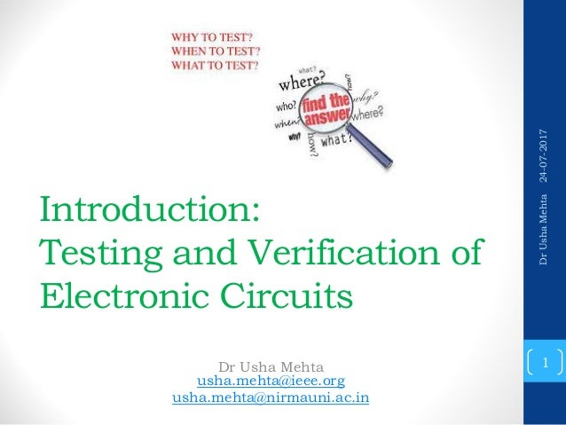 testing and verification of electronics circuits introduction