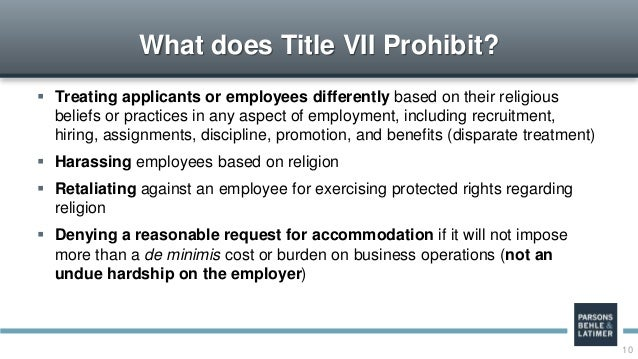 Accommodating religious beliefs and practices in the workplace