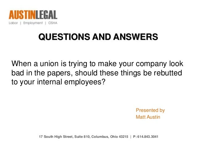 Questions and answers on union and