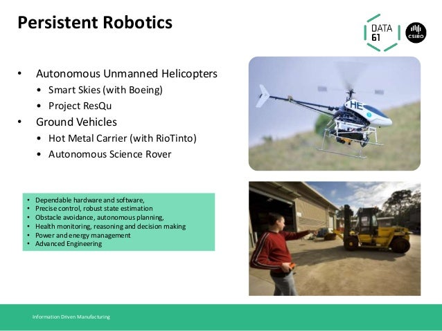 Persistent Robotics • Autonomous Unmanned Helicopters • Smart Skies (with Boeing) • Project ResQu • Ground Vehicles • Hot ...