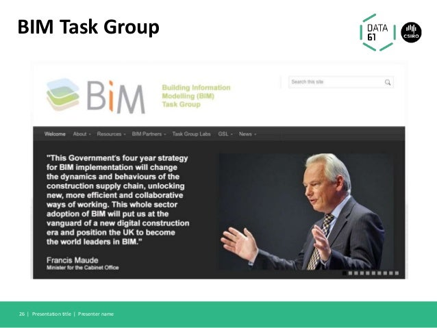 BIM Task Group Presentation title | Presenter name26 |