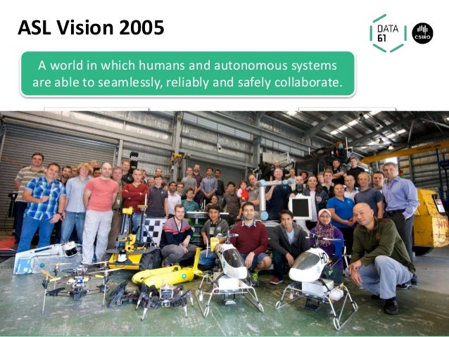 A world in which humans and autonomous systems are able to seamlessly, reliably and safely collaborate. ASL Vision 2005 45...