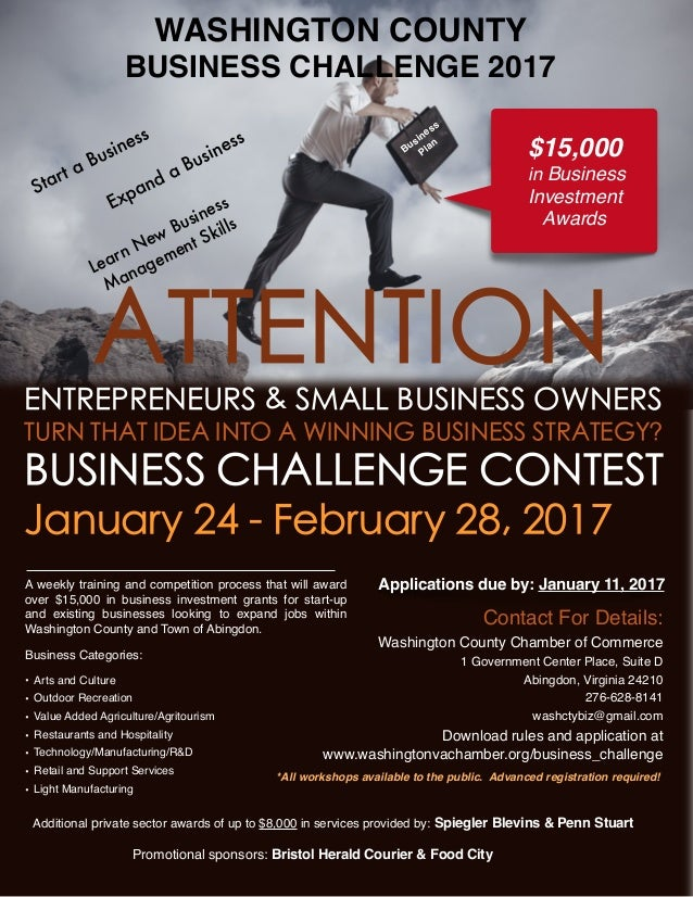 WASHINGTON COUNTY BUSINESS CHALLENGE 2017 *All workshops available to the public. Advanced registration required! Promotio...