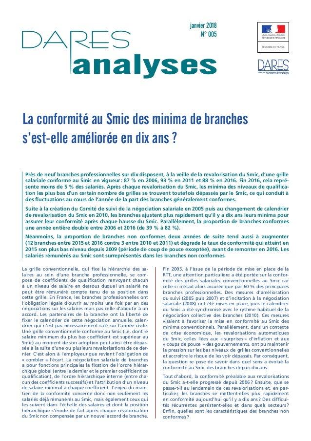 janvier 2018 N° 005 analyses direction de l'animation de la recherche, des études et des statistiques La conformité au Smi...