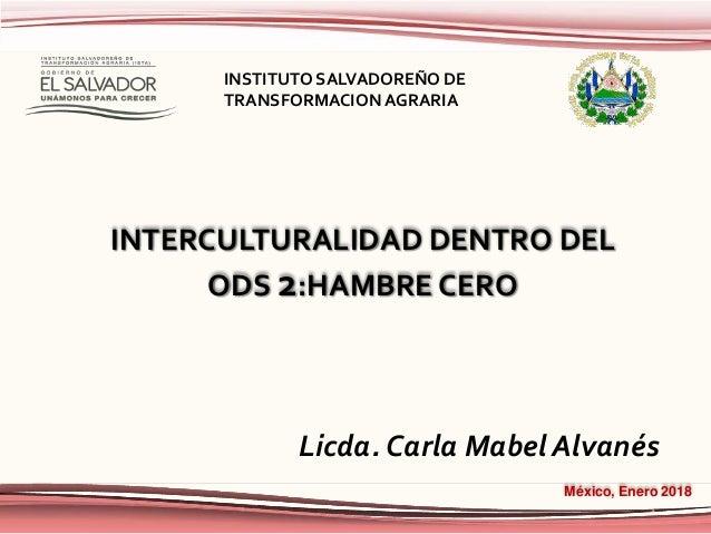 INTERCULTURALIDAD DENTRO DEL ODS 2:HAMBRE CERO México, Enero 2018 Licda. Carla Mabel Alvanés INSTITUTO SALVADOREÑO DE TRAN...