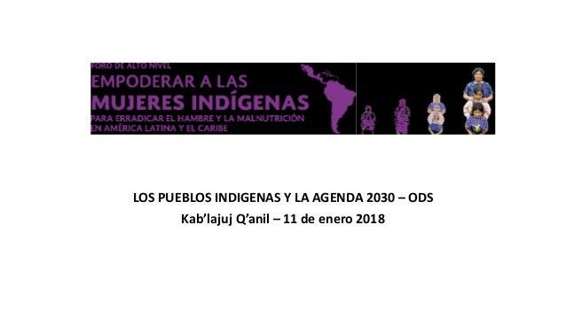 LOS PUEBLOS INDIGENAS Y LA AGENDA 2030 – ODS Kab'lajuj Q'anil – 11 de enero 2018