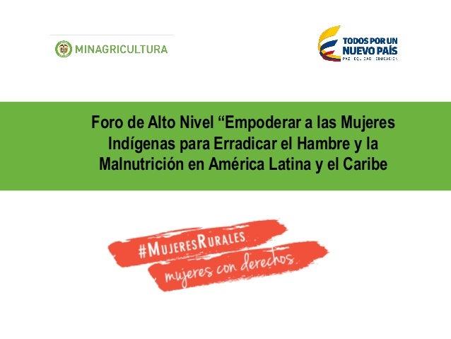 """Foro de Alto Nivel """"Empoderar a las Mujeres Indígenas para Erradicar el Hambre y la Malnutrición en América Latina y el Ca..."""