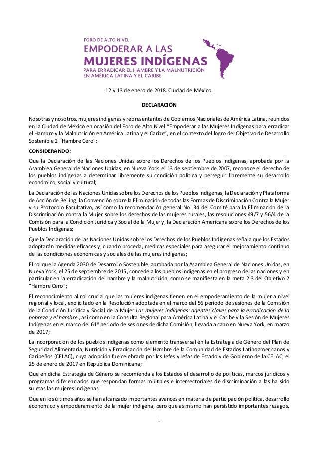 1 12 y 13 de enero de 2018. Ciudad de México. DECLARACIÓN Nosotras y nosotros, mujeres indígenas y representantes de Gobie...