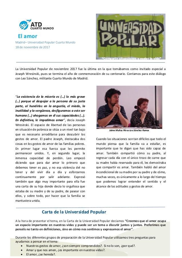 """El amor Madrid– Universidad Popular Cuarto Mundo 18 de noviembre de 2017 """"Compartir situaciones y reeler la vida"""" La Unive..."""
