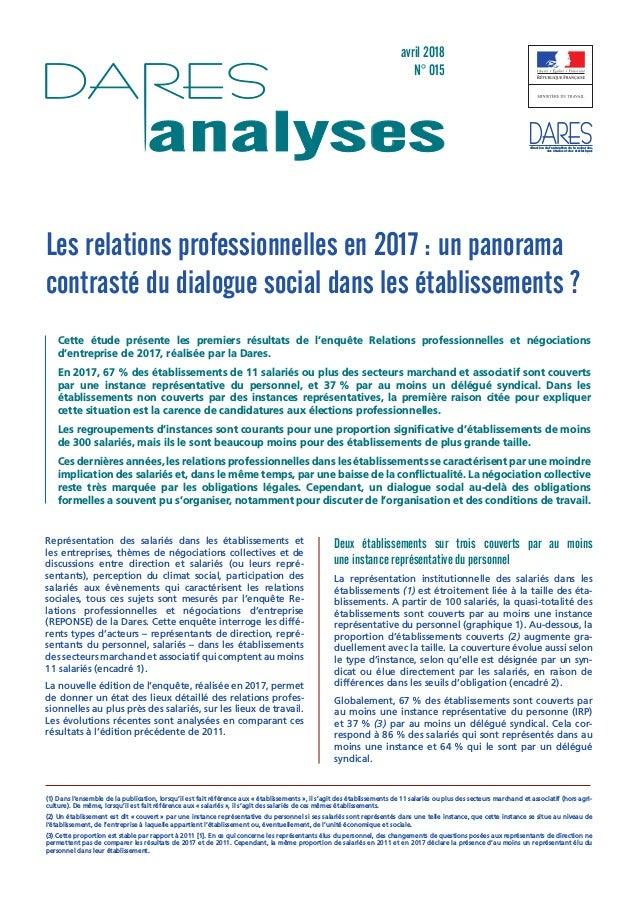 avril 2018 N° 015 analyses direction de l'animation de la recherche, des études et des statistiques Les relations professi...