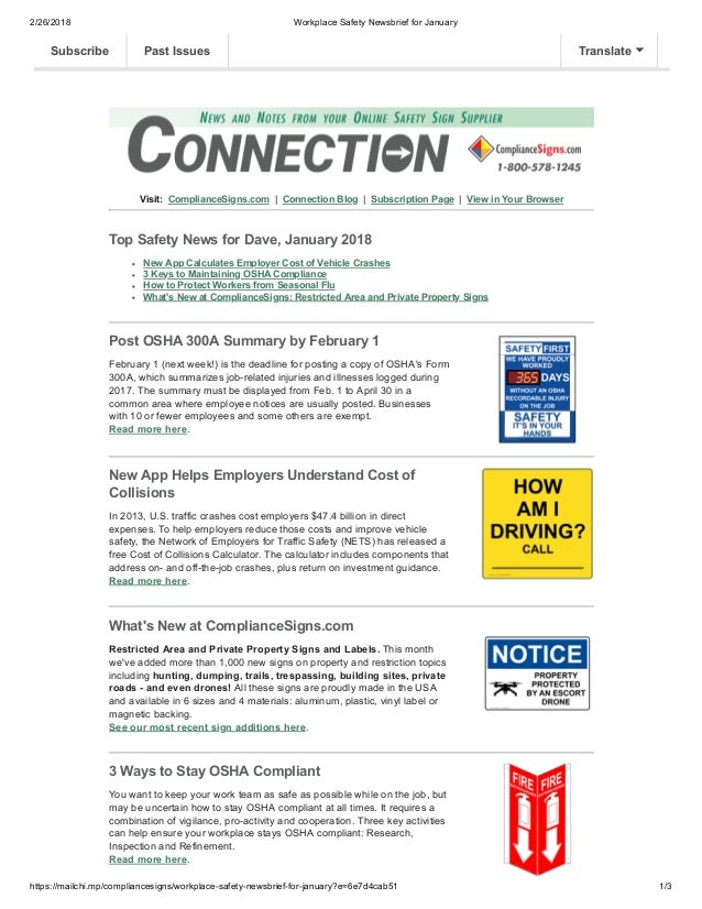 2/26/2018 Workplace Safety Newsbrief for January https://mailchi.mp/compliancesigns/workplace-safety-newsbrief-for-january...