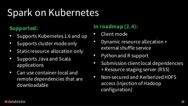 This Talk 29 Continuous Processing Spark on Kubernetes PySpark Performance Streaming ML + ImageReader Databricks Delta