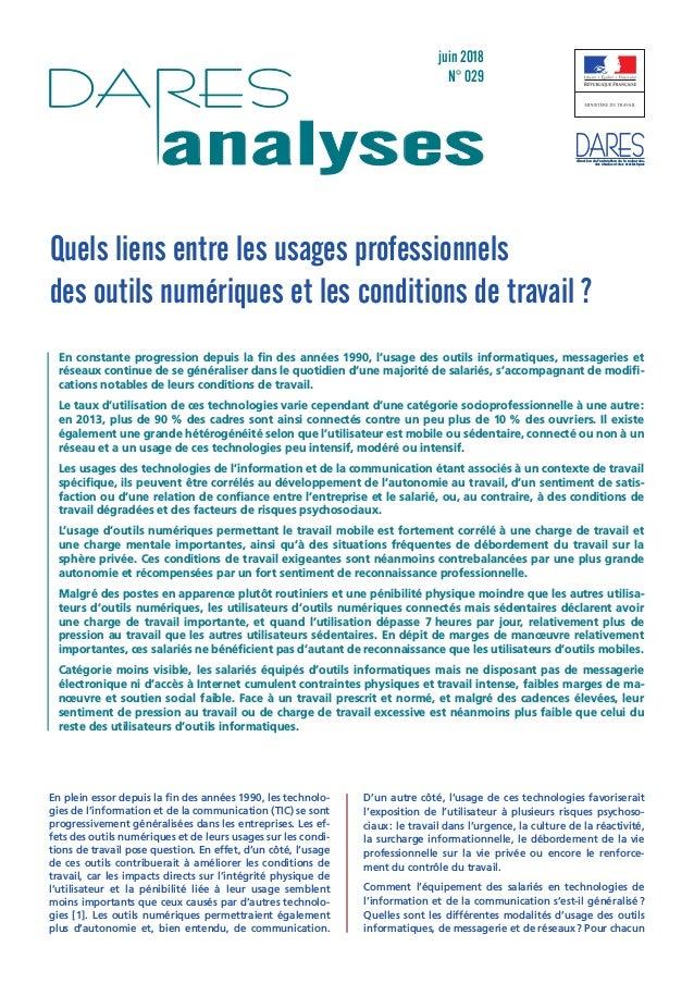 juin 2018 N° 029 analyses direction de l'animation de la recherche, des études et des statistiques Quels liens entre les u...