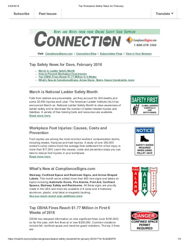 2/26/2018 Top Workplace Safety News for February https://mailchi.mp/compliancesigns/workplace-safety-newsbrief-for-january...