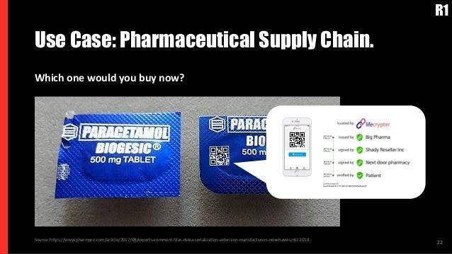 Use Case: Pharmaceutical Supply Chain. 22Source: https://www.pharmpro.com/article/2017/08/experts-comment-fdas-dscsa-seria...