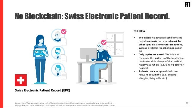 Use Cases: Electronical Medical Records. 26Source: https://www.e-health-suisse.ch/en/electronic-patient-record/for-healthc...