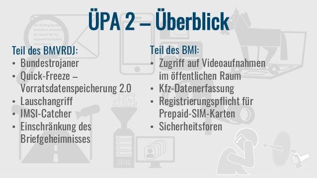 ÜPA 2 – Überblick Teil des BMVRDJ: • Bundestrojaner • Quick-Freeze – Vorratsdatenspeicherung 2.0 • Lauschangriff • IMSI-Ca...
