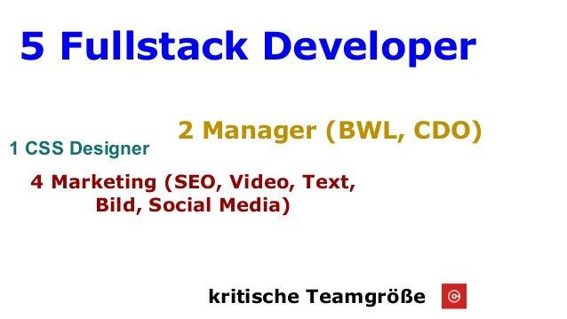 kritische Teamgröße 5 Fullstack Developer 4 Marketing (SEO, Video, Text, Bild, Social Media) 2 Manager (BWL, CDO) 1 CSS De...
