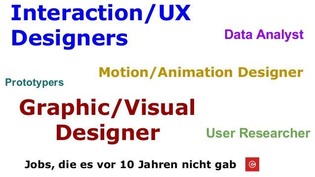 Jobs, die es vor 10 Jahren nicht gab Interaction/UX Designers Graphic/Visual Designer Motion/Animation Designer User Resea...