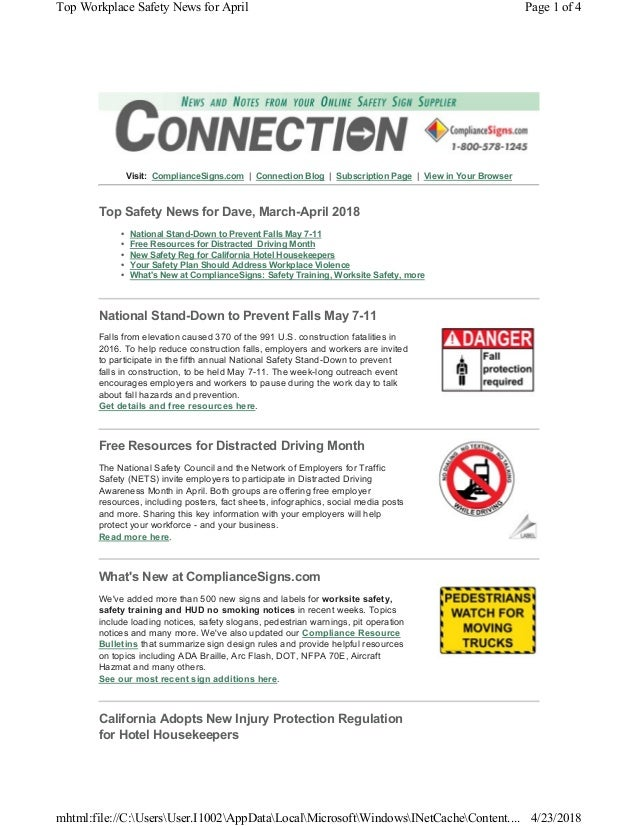 Visit: ComplianceSigns.com   Connection Blog   Subscription Page   View in Your Browser Top Safety News for Dave, March-Ap...