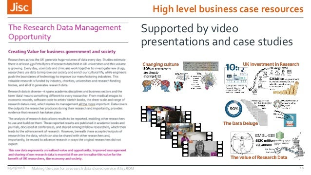 High level business case resources 19/03/2018 Making the case for a research data shared service #JiscRDM 10 Supported by ...
