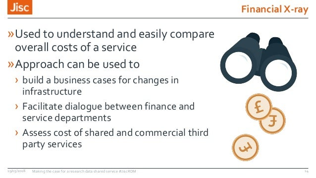 Financial X-ray 19/03/2018 Making the case for a research data shared service #JiscRDM 14 »Used to understand and easily c...