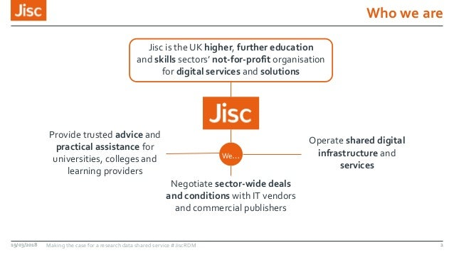 Who we are Jisc is the UK higher, further education and skills sectors' not-for-profit organisation for digital services a...