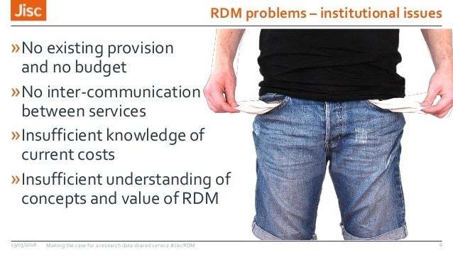 RDM problems – institutional issues »No existing provision and no budget »No inter-communication between services »Insuffi...