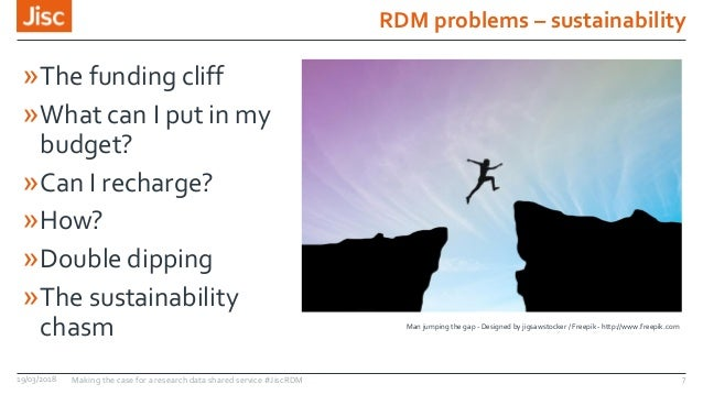 RDM problems – sustainability 19/03/2018 Making the case for a research data shared service #JiscRDM 7 »The funding cliff ...