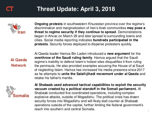 1 Threat Update: April 3, 2018 Ongoing protests in southwestern Khuzestan province over the regime's discrimination and ma...