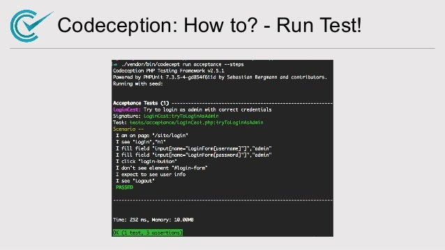 Codeception: How to? - Run Test!