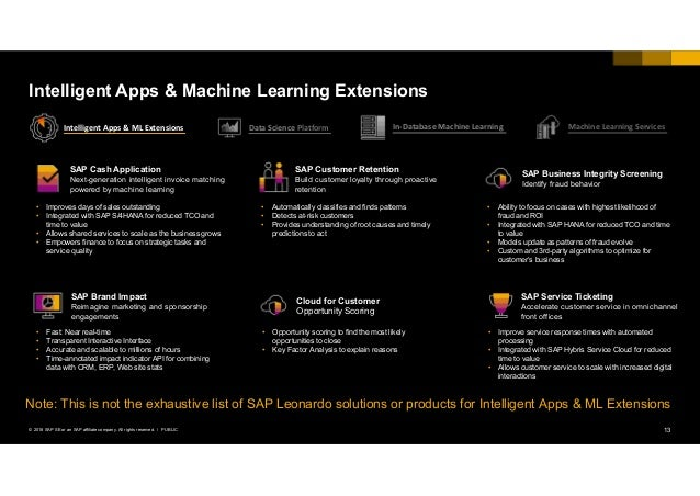 13PUBLIC© 2018 SAP SE or an SAP affiliate company. All rights reserved. ǀ Intelligent Apps & Machine Learning Extensions S...