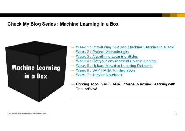 24PUBLIC© 2018 SAP SE or an SAP affiliate company. All rights reserved. ǀ Check My Blog Series : Machine Learning in a Box...