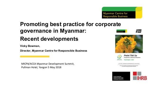 Promoting best practice for corporate governance in Myanmar: Recent d…