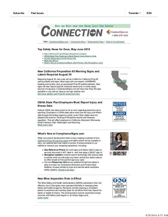 Visit: ComplianceSigns.com | Connection Blog | Subscription Page | View in Your Browser Top Safety News for Dave, May-June...