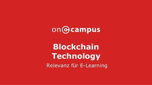 Blockchain Technology Relevanz für E-Learning