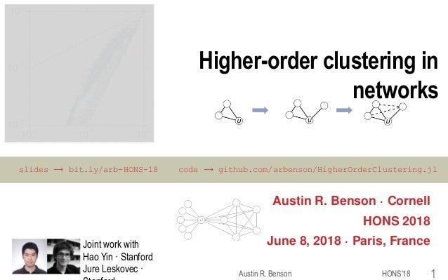 Higher-order clustering in networks Austin R. Benson · Cornell HONS 2018 June 8, 2018 · Paris, France HONS'18Austin R. Ben...