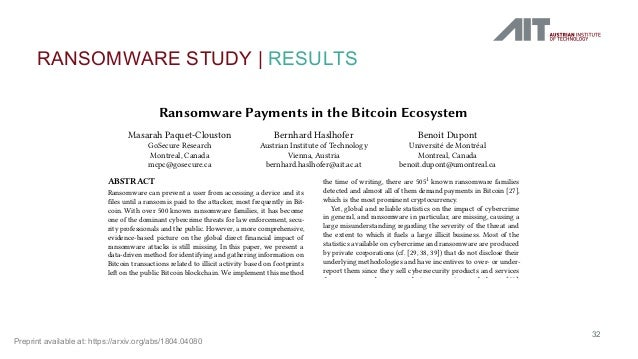 RANSOMWARE STUDY   RESULTS 32 Ransomware Payments in the Bitcoin Ecosystem Masarah Paquet-Clouston GoSecure Research Montr...