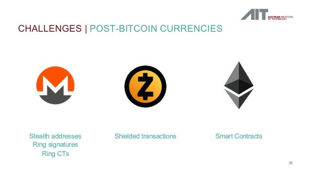 CHALLENGES   POST-BITCOIN CURRENCIES 35 Stealth addresses Ring signatures Ring CTs Shielded transactions Smart Contracts