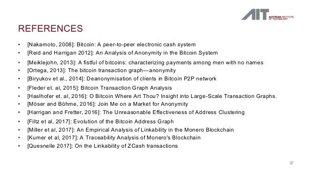 • [Nakamoto, 2008]: Bitcoin: A peer-to-peer electronic cash system • [Reid and Harrigan 2012]: An Analysis of Anonymity in...