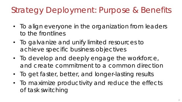 21 Strategy Deployment requires a strategy to deploy.