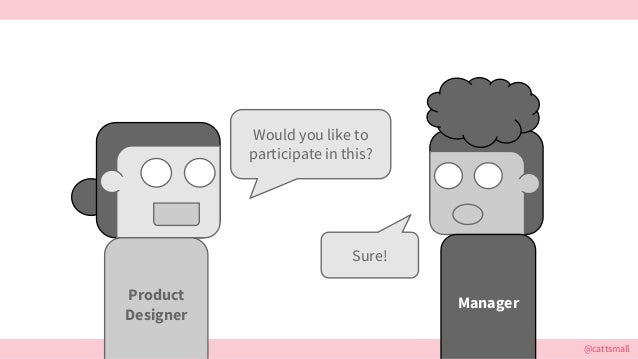 @cattsmall Would you like to participate in this? Manager Sure! Product Designer