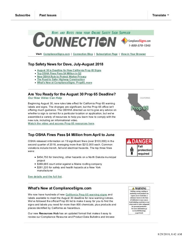 Visit: ComplianceSigns.com | Connection Blog | Subscription Page | View in Your Browser Top Safety News for Dave, July-Aug...