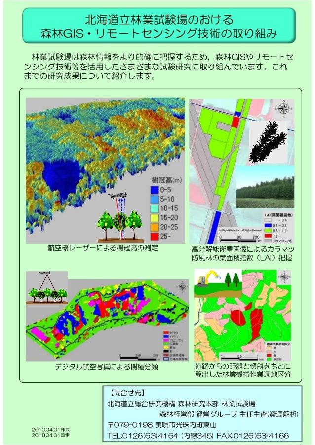 道路からの距離と傾斜をもとに 算出した林業機械作業適地区分 航空機レーザーによる樹冠高の測定 デジタル航空写真による樹種分類 高分解能衛星画像によるカラマツ 防風林の葉面積指数(LAI)把握 北海道立林業試験場のおける 森林GIS・リモートセン...