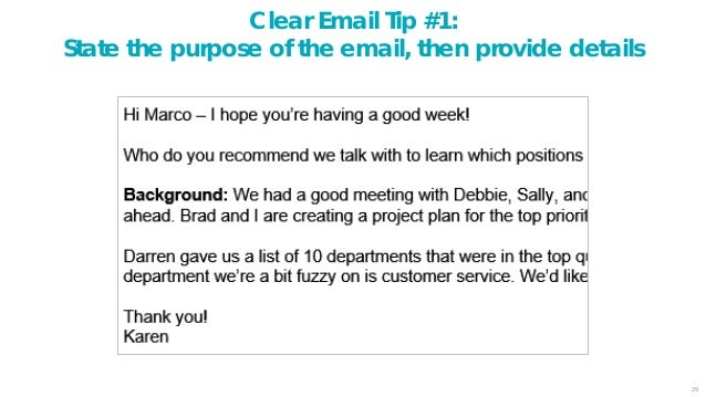 30 Clear Email Tip #2: Number your items, include a topic, add space